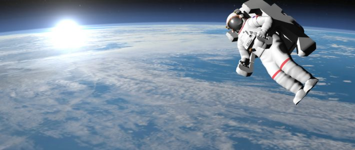 Astronaut or cosmonaut flying upon earth when sun rises, 3d render - Elements of this image furnished by NASA